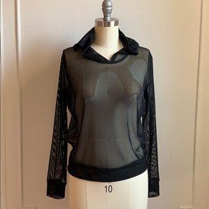 Forever 21 Mesh Long Sleeve Black Hooded Top.